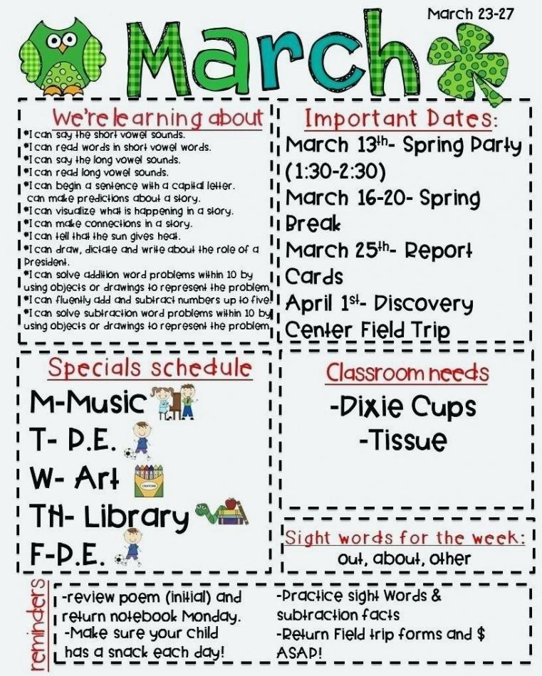 Elementary Classroom Newsletter Template Unique Free Newsletter Templates Learning Center Elementary