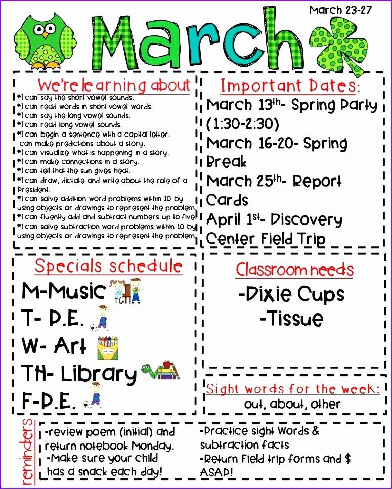 Elementary Classroom Newsletter Template Unique School Newsletter Examples – Studiorc