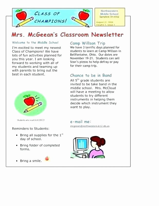 Elementary Classroom Newsletter Template Unique Weekly School Newsletter Template