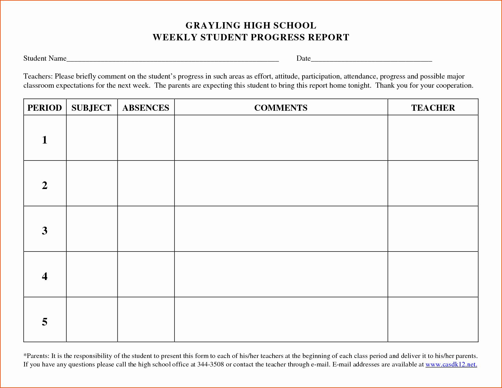 Elementary Progress Report Template Elegant 5 Weekly Progress Report Template Bookletemplate