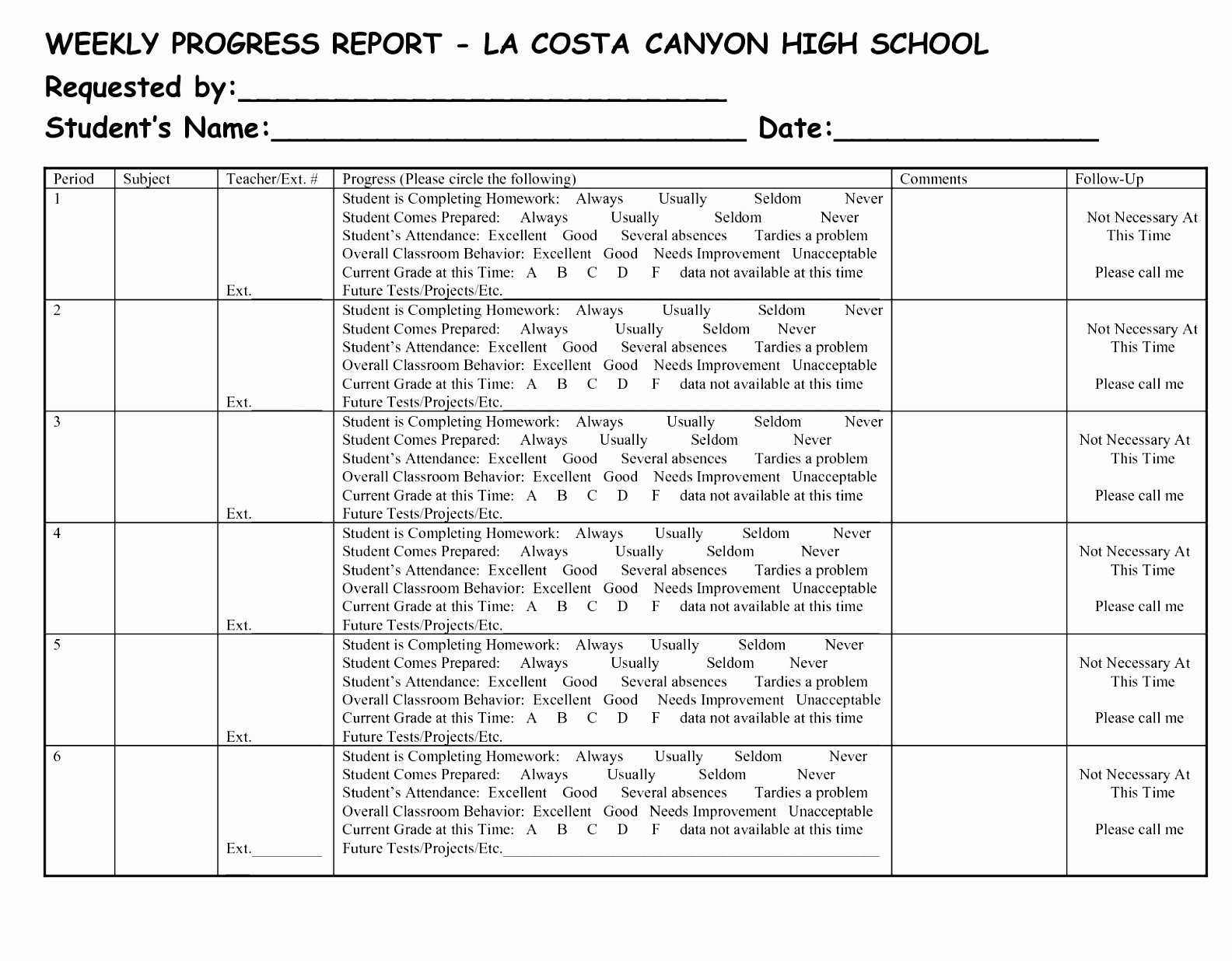 Elementary Progress Report Template Fresh 96 Weekly Progress Reports Elementary Weekly Progress