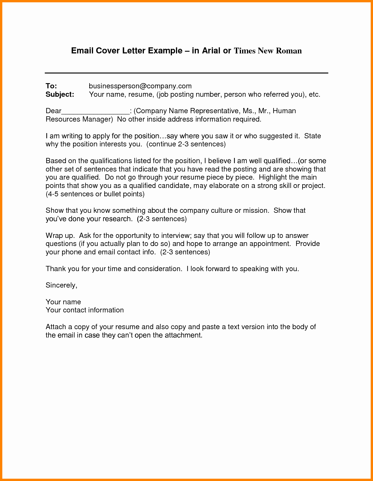 Email Cover Letter Template Best Of 6 Email Cover Letter Templates