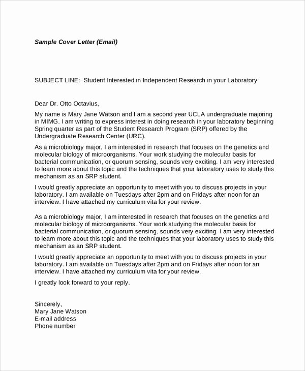 Email Cover Letter Template Fresh 23 Sample Letters