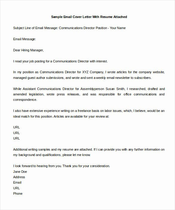 Email Cover Letter Template Fresh 8 Email Cover Letter Templates Free Sample Example