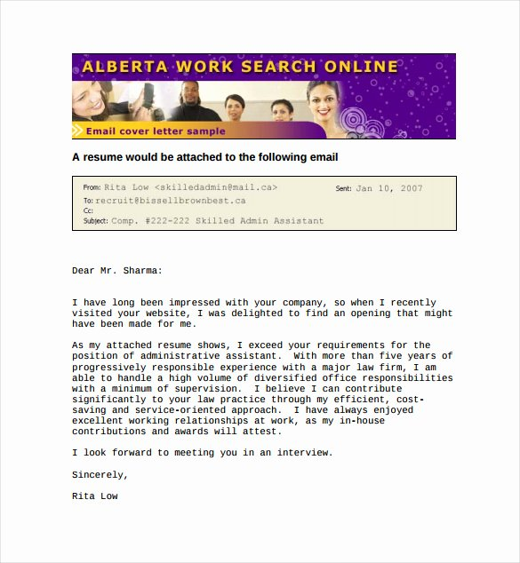 Email Cover Letter Template Fresh Email Cover Letter Template 10 Free Word Pdf Documents