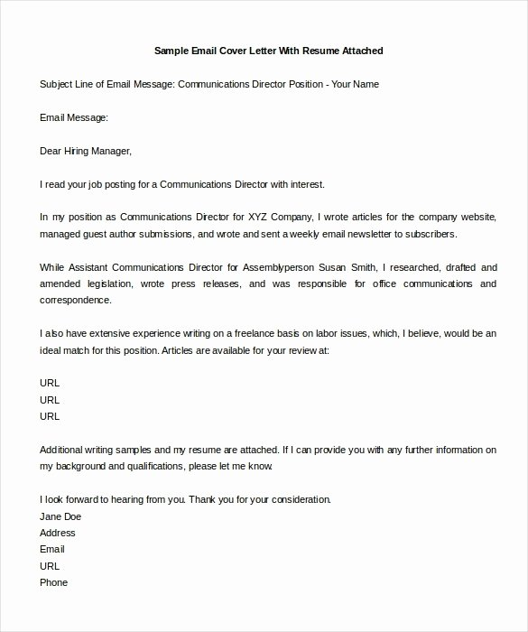 Email Cover Letter Template Inspirational Cover Letter Example Email