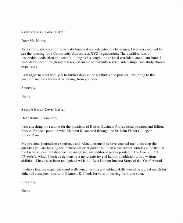 Email Cover Letter Template New 9 Sample Resume Cover Letter formats