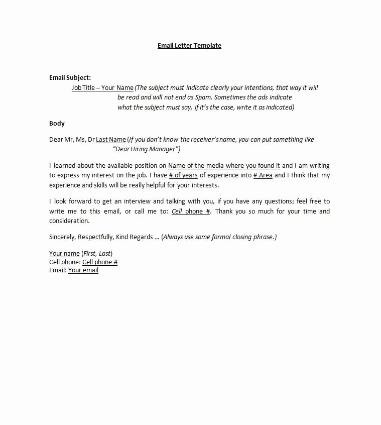 Email Cover Letter Template New Email Cover Letters Cover Letter Pinterest
