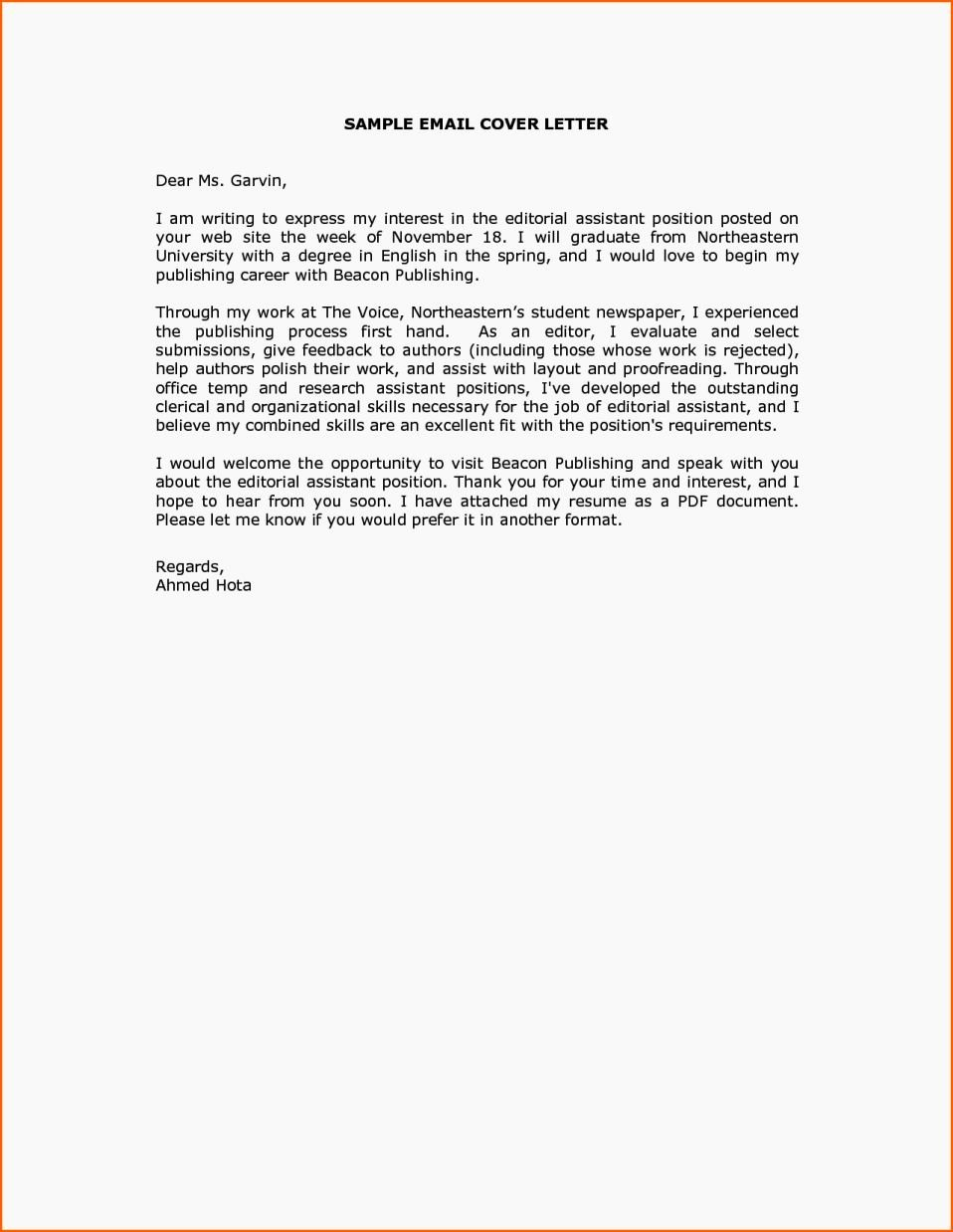 Email Cover Letter Template Unique Cover Letter Sample Email Message