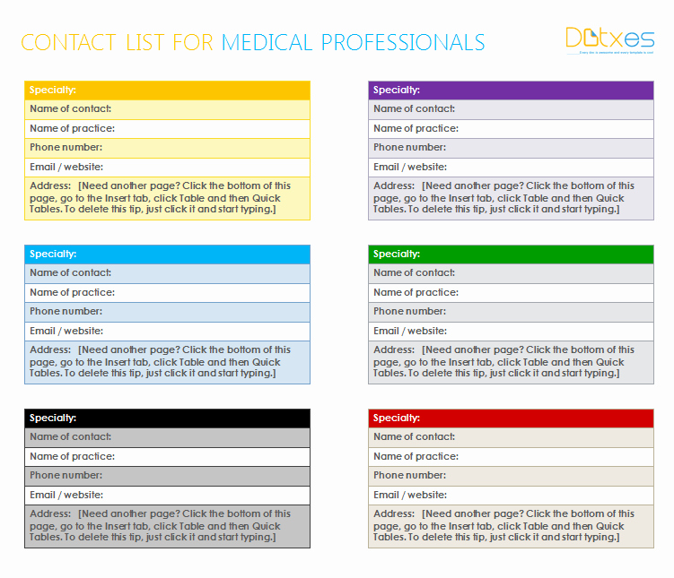 Email List Template Word Elegant Medical Contact List Template for Word Dotxes