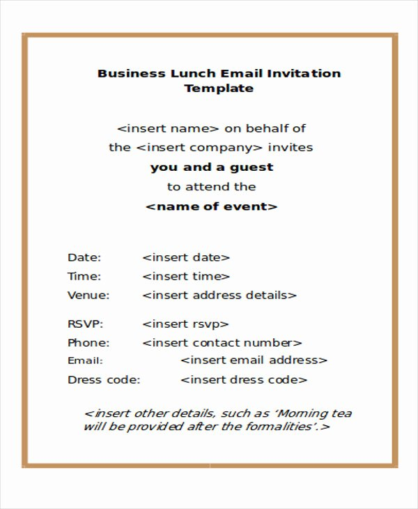 Email Party Invite Template Elegant Lunch Meeting Invitation Email Template Templates