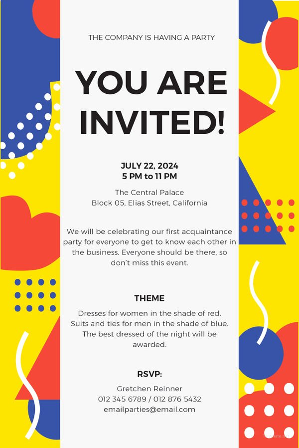 Email Party Invite Template New 15 Email Invitation Template Free Sample Example