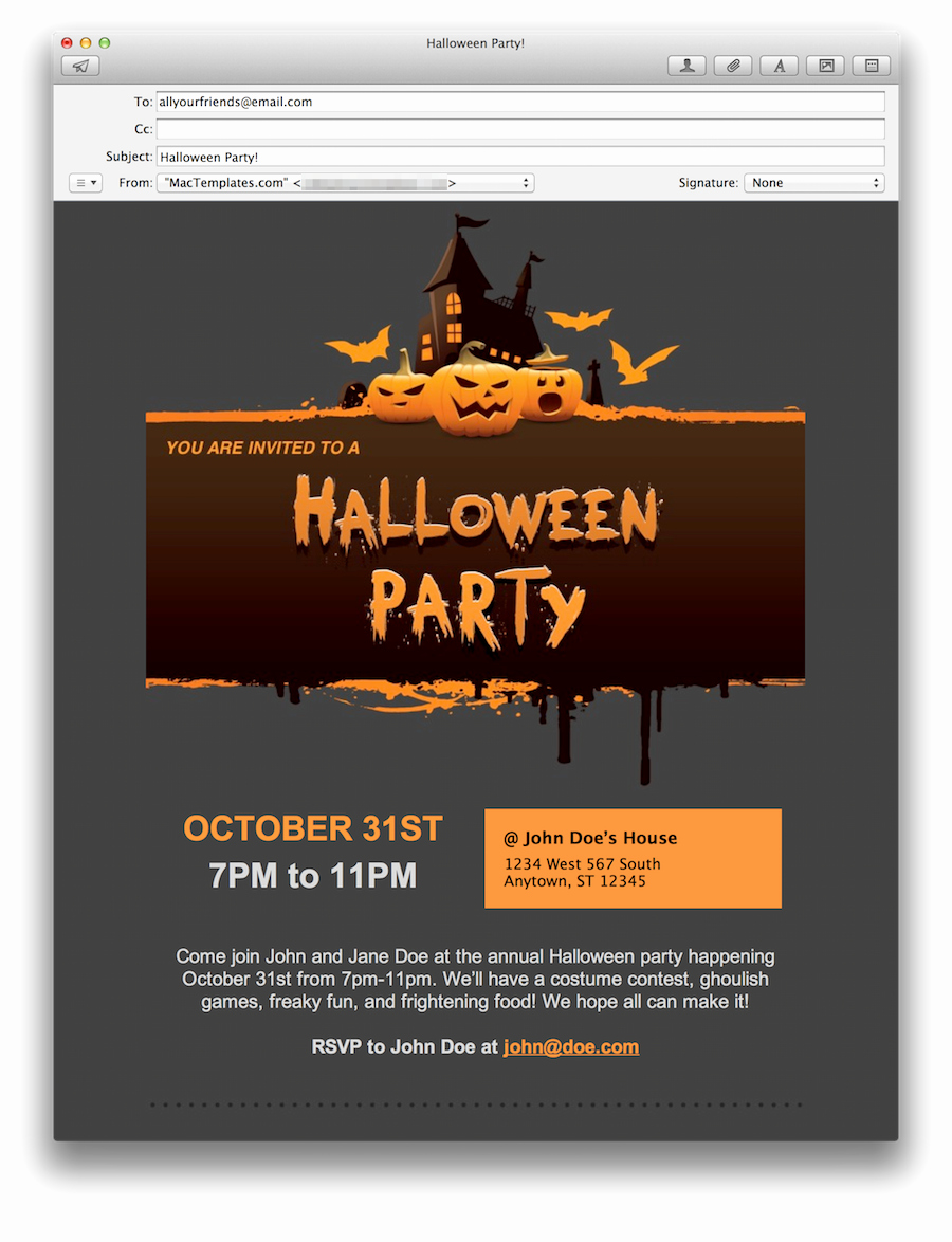 Email Party Invite Template Unique Halloween Party Email Invitations for Apple Mail