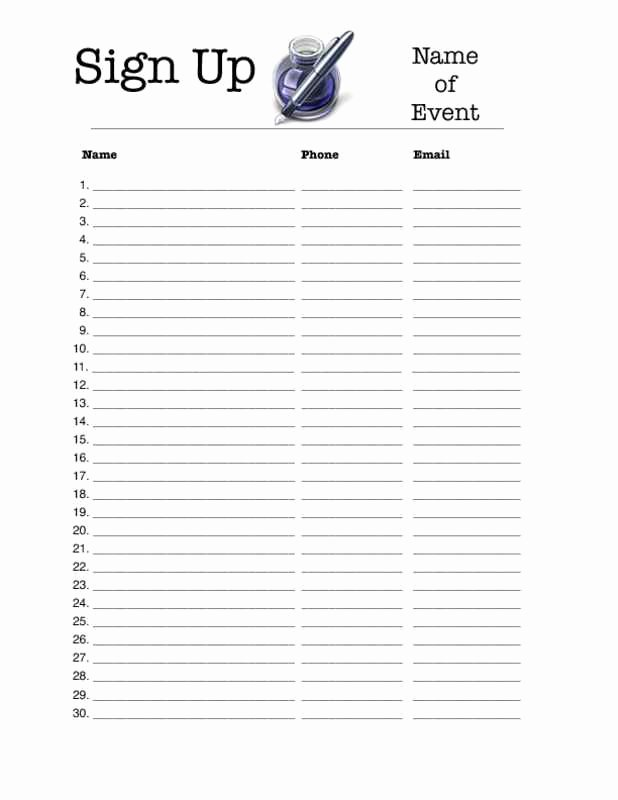 Email Sign Up form Template Lovely 4 Excel Sign Up Sheet Templates Excel Xlts