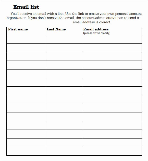 Email Sign Up form Template Lovely Team Snack Schedule Template Here is Link for