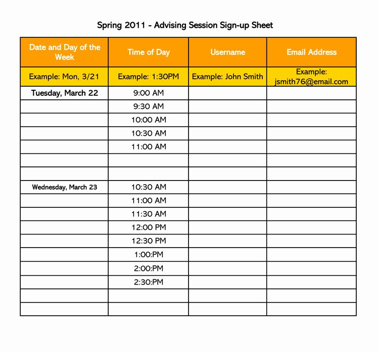 Email Sign Up form Template New 26 Free Sign Up Sheet Templates Excel & Word
