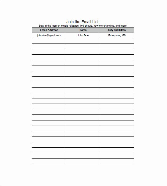 Email Sign Up List Template Fresh Email List Template 10 Free Word Excel Pdf format