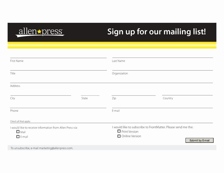 Email Sign Up List Template Inspirational Mailing List form Template