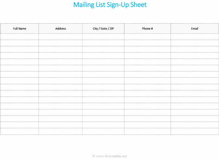 Email Sign Up List Template Lovely Mailing List Template