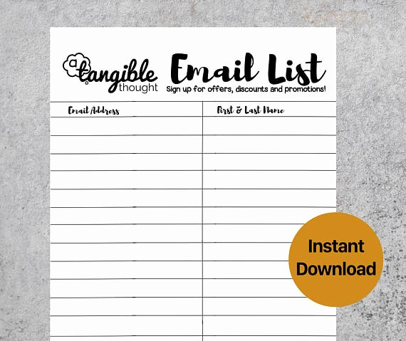 Email Sign Up List Template New Email List Template Newsletter Sign Up form Digital Pdf