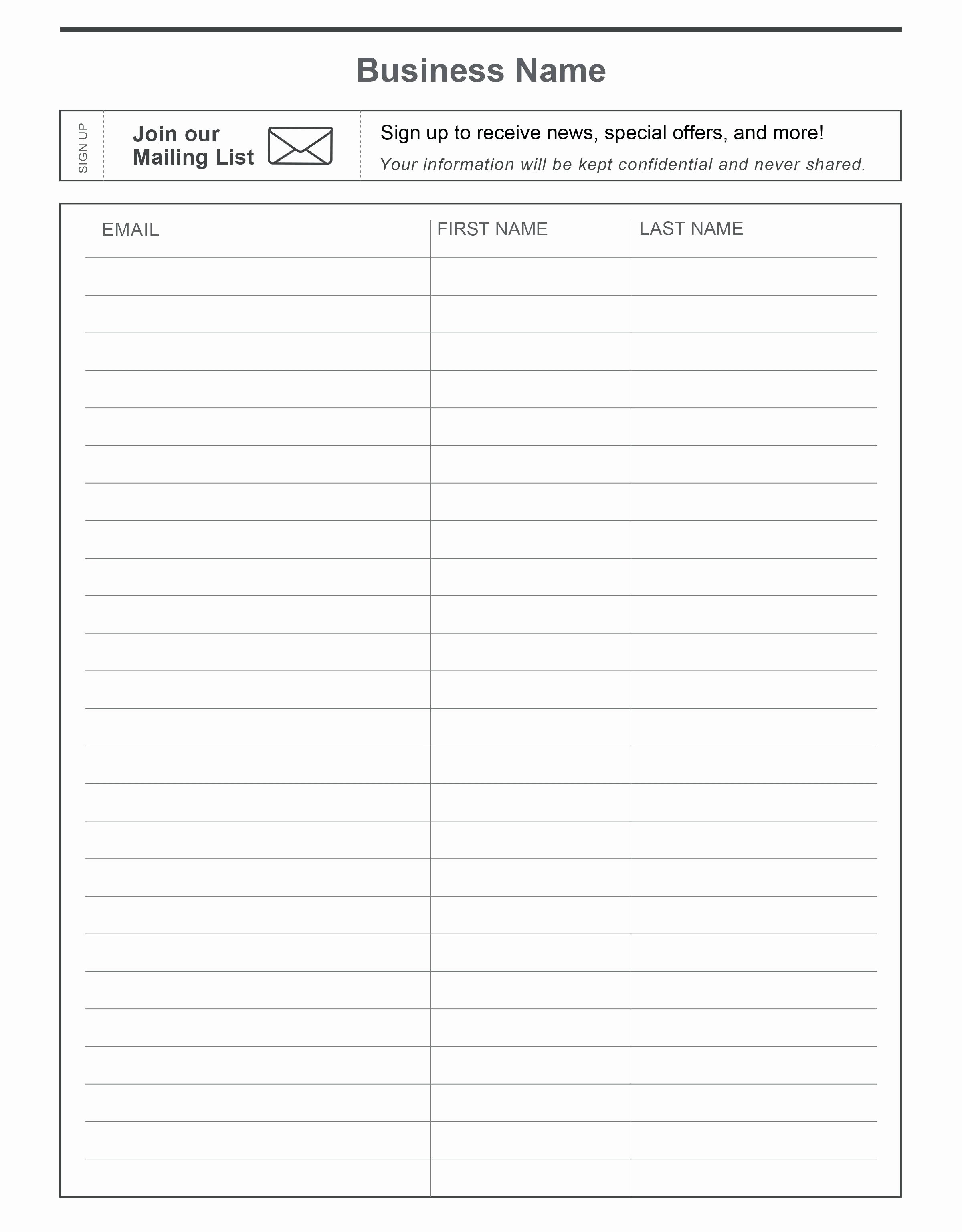 Email Sign Up List Template New Sign Up Sheet Template Google Docs