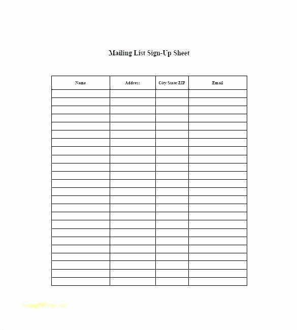 Email Sign Up List Template Unique Printable Sign Up Sheet Template Sample Potluck – Glotro