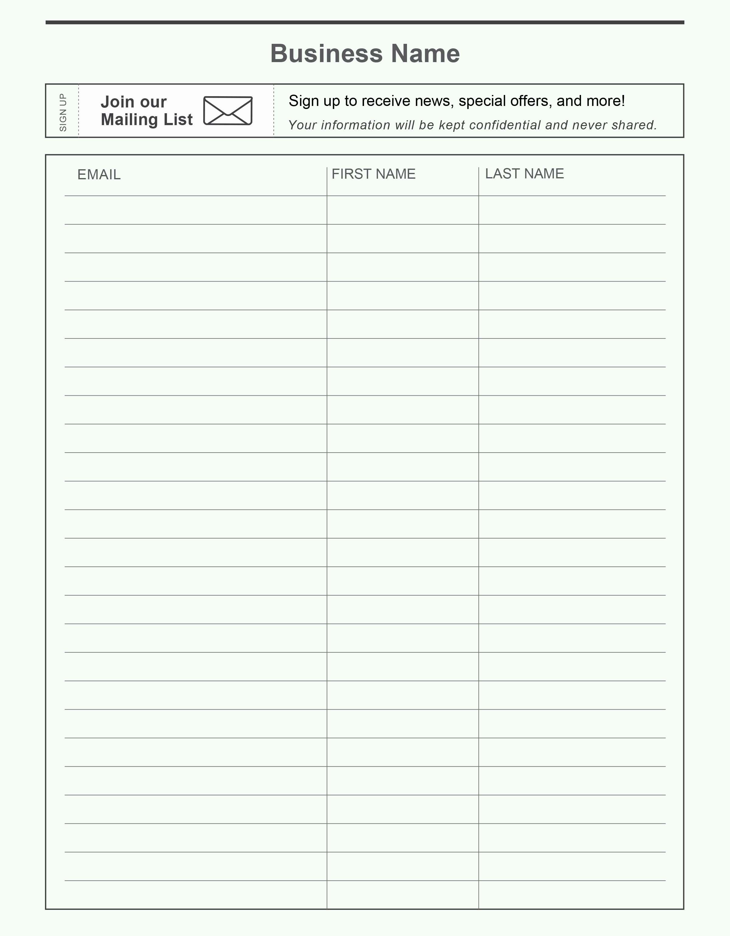 Email Sign Up Template Elegant Name and Email Sign Up Sheet Portablegasgrillweber