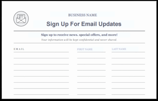 Email Sign Up Template Lovely Email Sign Up Sheet Template