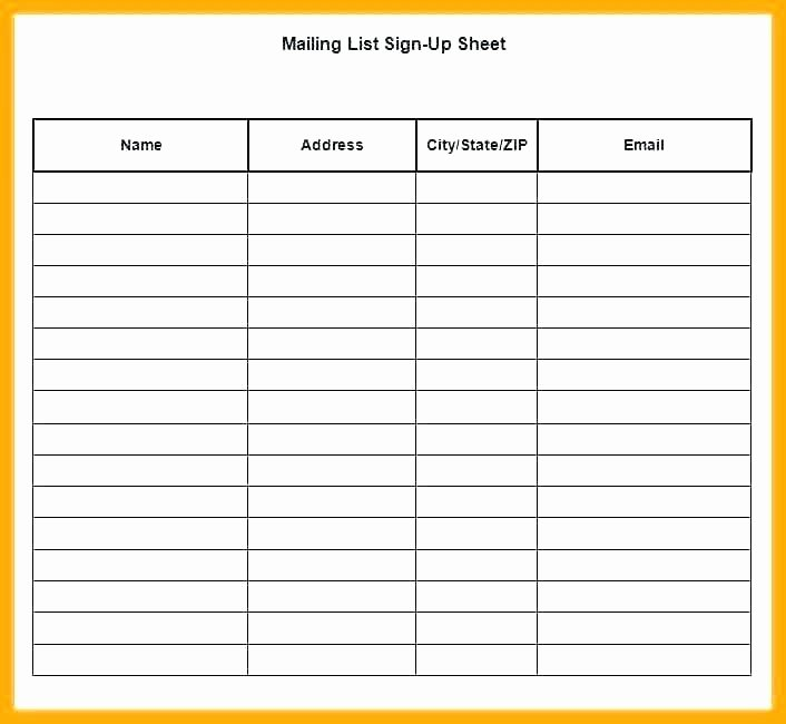 Email Signup List Template Inspirational Sign Up List Template Excel Email Sheet Food Mercial