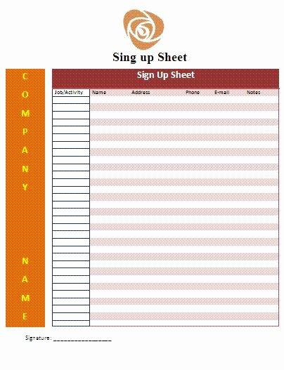 Email Signup Sheet Template Best Of Cute Sign Up Sheet Templates Google Search