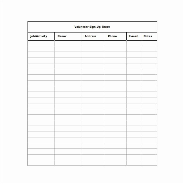 Email Signup Sheet Template Unique 12 Sign Up Sheet Templates Free Excel Word Sample