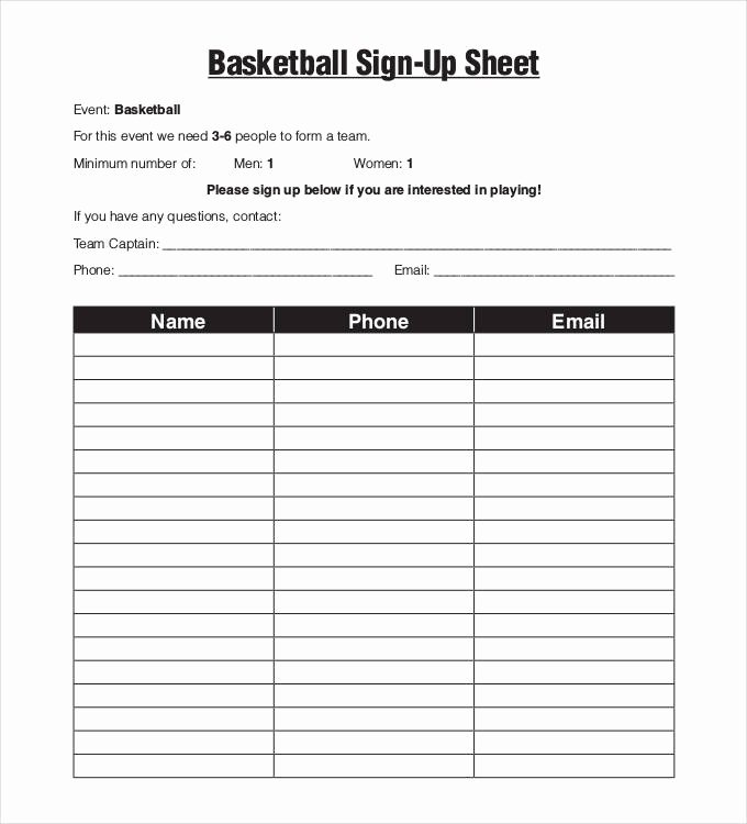 Email Signup Sheet Template Unique Sign Up Sheets 58 Free Word Excel Pdf Documents