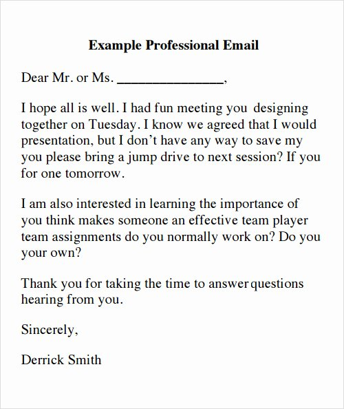 Email Writing Template Professional Best Of 8 Best Of Professional Email Template