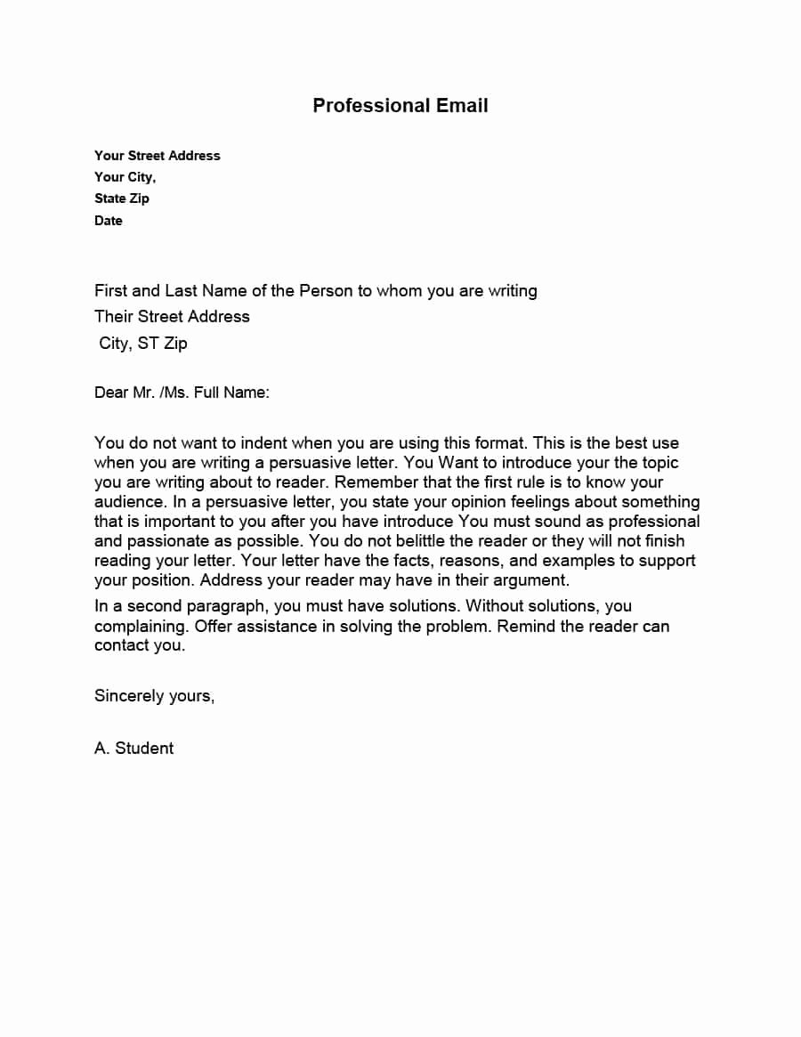 Email Writing Template Professional Fresh 30 Professional Email Examples & format Templates