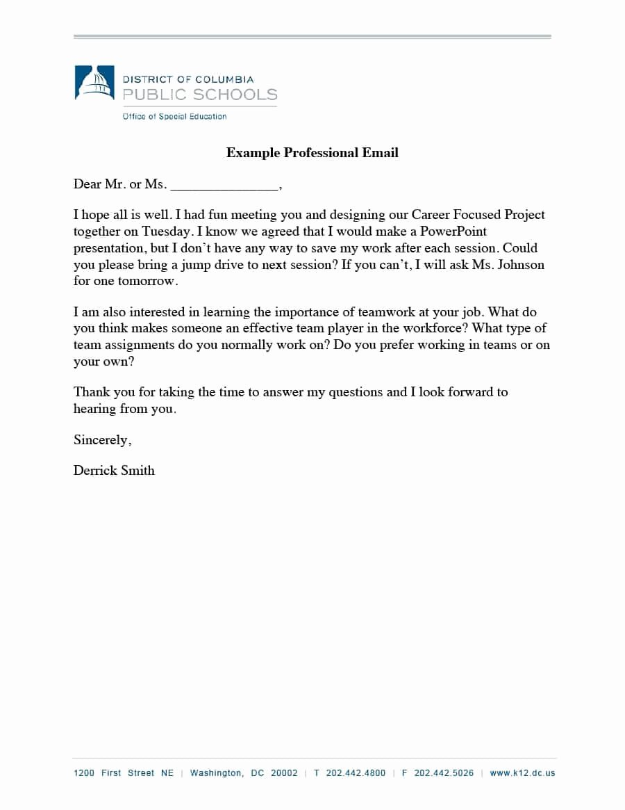 Email Writing Template Professional Inspirational 30 Professional Email Examples & format Templates