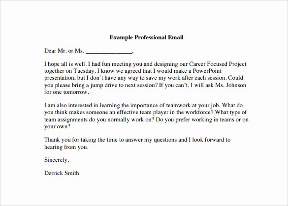 Email Writing Template Professional Lovely 8 Sample Professional Email Templates – Pdf