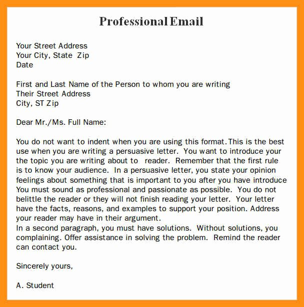 Email Writing Template Professional Luxury format Of A Professional Email