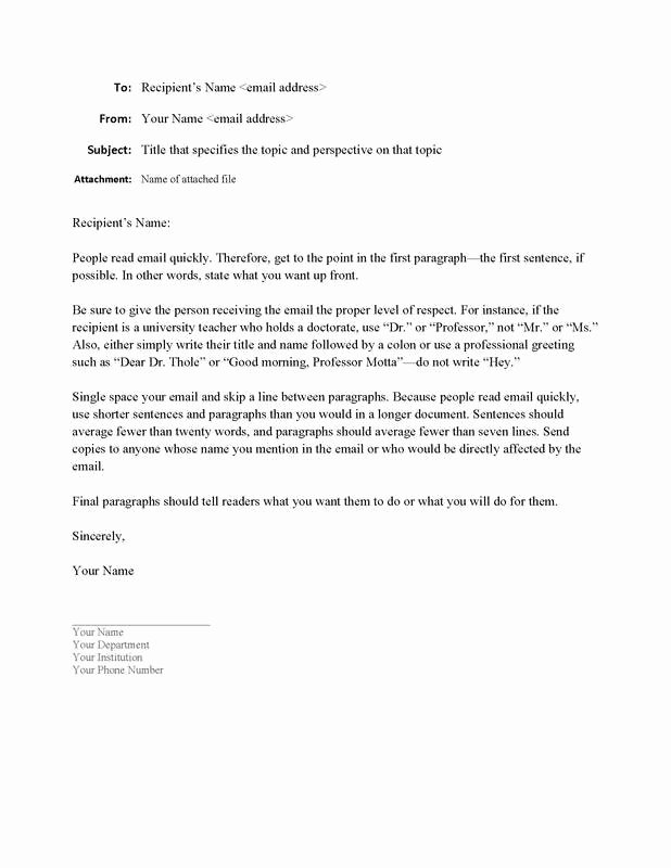 Email Writing Template Professional New Sample Email format Writing Guidelines for Engineering