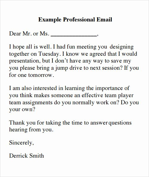 Email Writing Template Professional Unique 14 Sample Emails