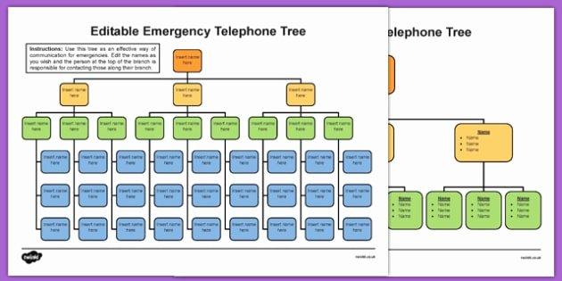 Emergency Call Tree Template Elegant Editable Emergency Telephone Tree Editable Emergency