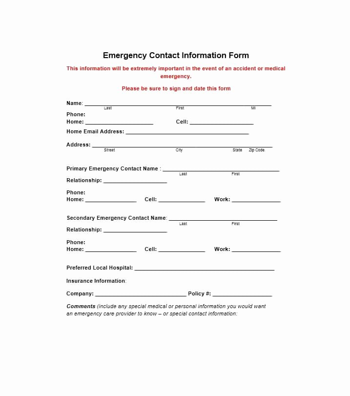Emergency Medical form Template Awesome 54 Free Emergency Contact forms [employee Student]