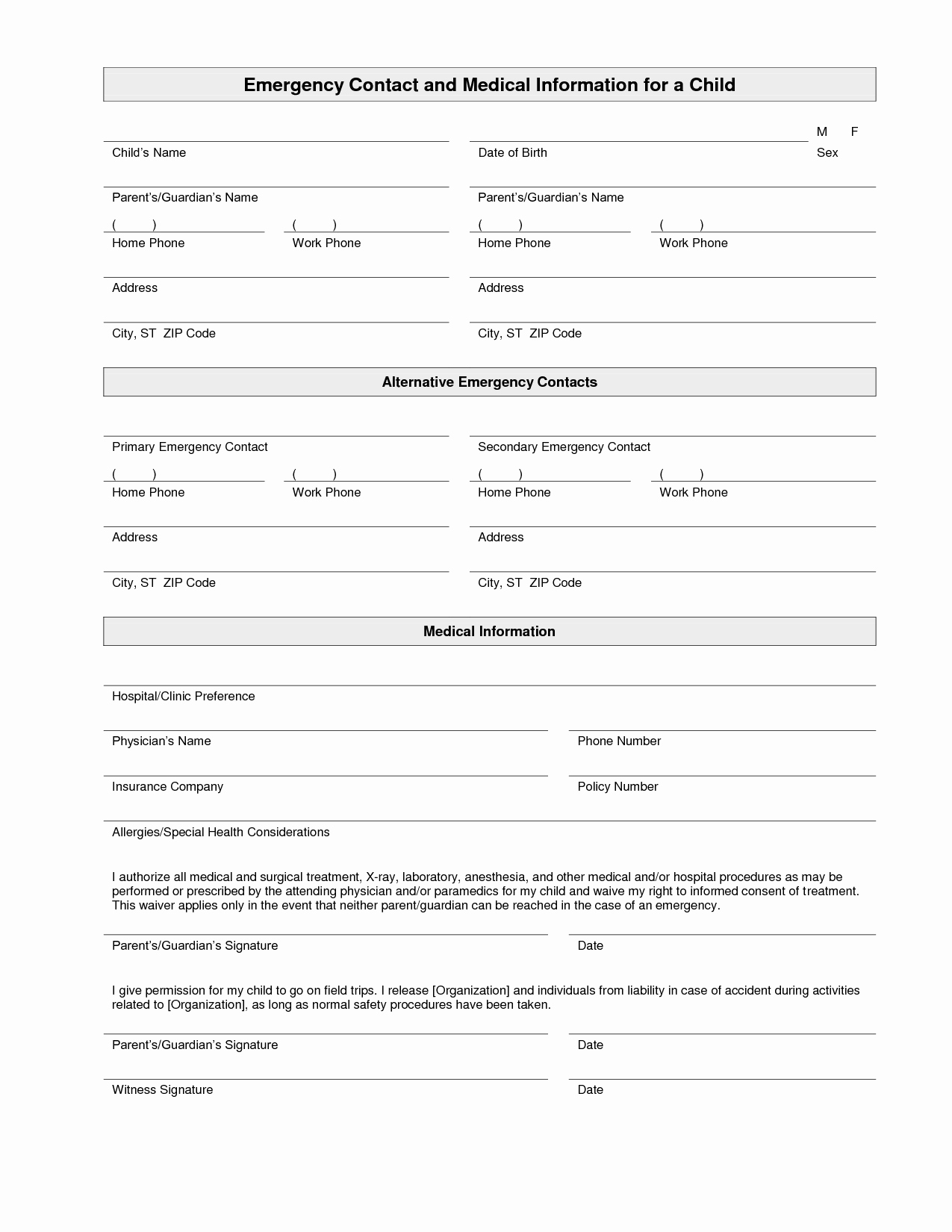 Emergency Medical form Template Awesome Printable Emergency Contact form Template