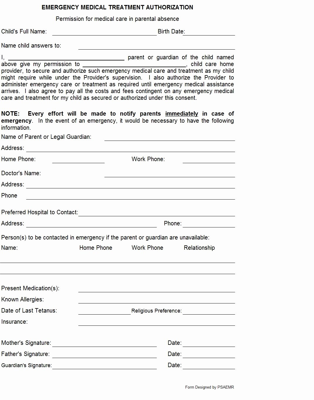 Emergency Medical form Template Beautiful 301 Moved Permanently