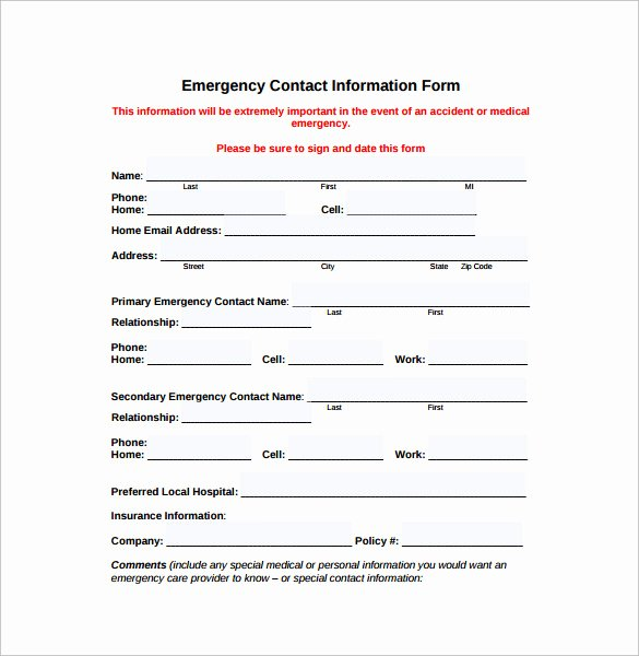 Emergency Medical form Template Beautiful Emergency Contact forms 11 Download Free Documents In