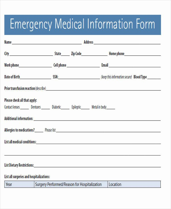 Emergency Medical form Template Best Of 45 Free Medical forms
