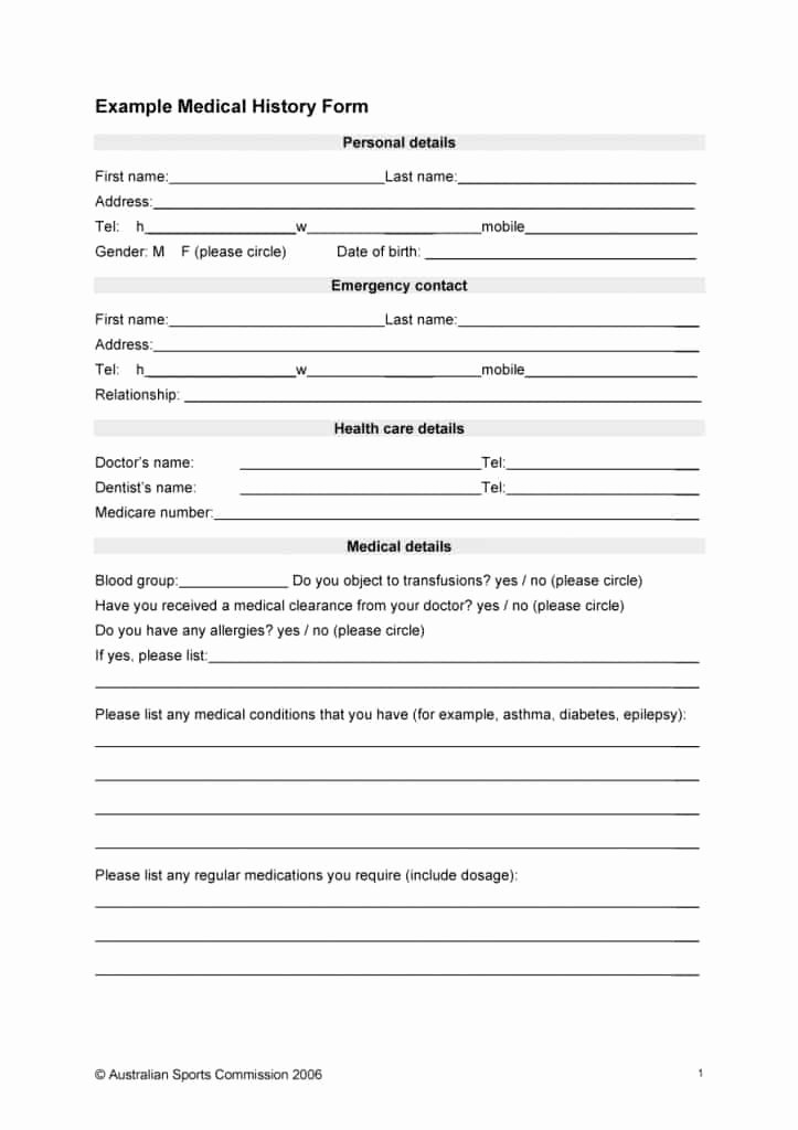 Emergency Medical form Template Best Of 67 Medical History forms [word Pdf] Printable Templates