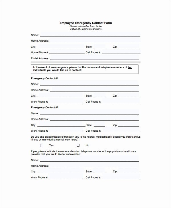 Emergency Medical form Template Best Of 8 Emergency Contact form Samples Examples Templates