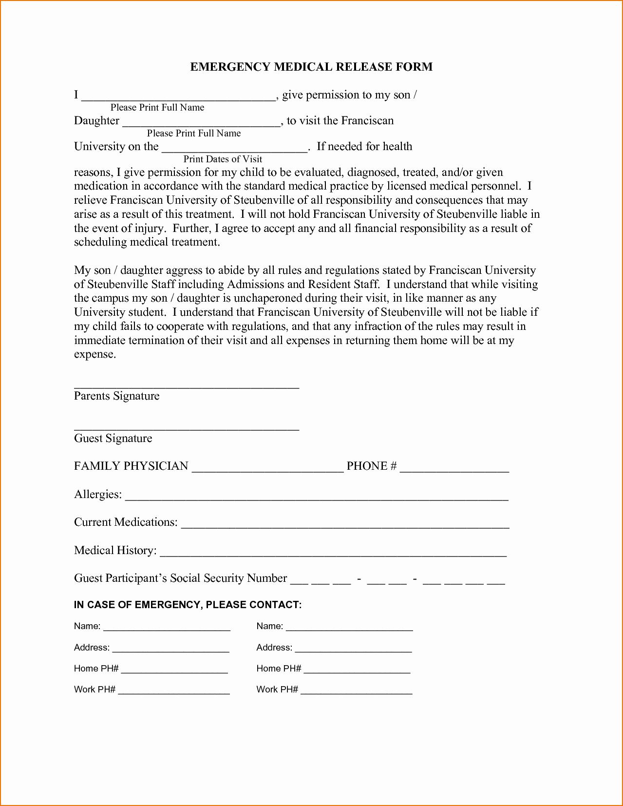 Emergency Medical form Template Elegant 3 Medical Release form Template