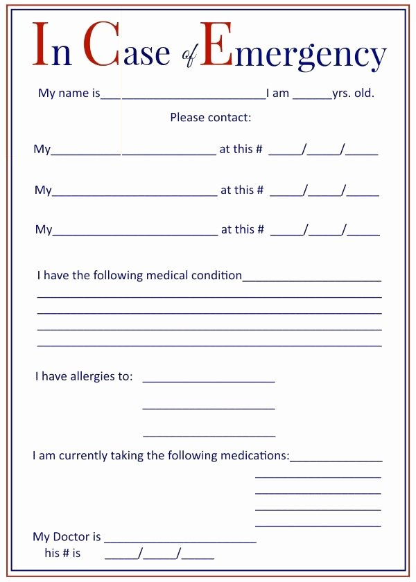Emergency Medical form Template Elegant I C E In Case Of Emergency forms Keep In Your Car and