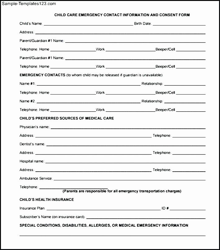 Emergency Medical form Template Elegant Personal Information form Template Word Emergency Contact